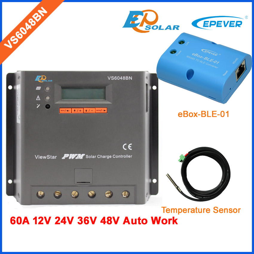 48V PWM VS6048BN ViewStar series 60A 60amps EPEVER 12V/24V/36V/48V auto work battery charger regulator bluetooth eBOX-BLE-01 vs6048au 48v battery charger work solar 60a controller pwm viewstar series 36v 24v auto work epever epsolar lcd display 60amps