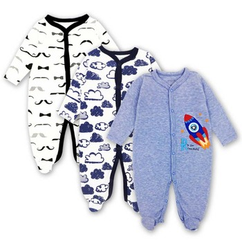 09ec2da215 3 unids lote 100% algodón de verano de bebé niño mono recién nacido pijamas  de algodón de manga larga 0-12 meses mamelucos ropa de bebé