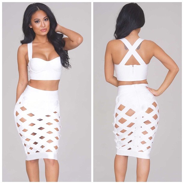 c814db1591a Two piece women outfits strap Bandage skirt+tops women ladies 2 pieces Set  sexy midriff backless 2 suits KF8189 hollow nightclub