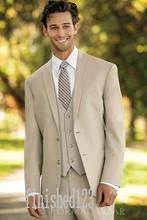 Fashionable Two Button Beige Groom Tuxedos Groomsmen Men's Wedding Prom Suits Custom Made (Jacket+Pants+Vest+Tie) K:70
