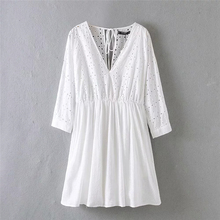Women Summer Solid Lace Shirts Dress Hollow Full Sleeve Bohemian Blouse Shirts V-Neck Embroidery Dresses Cotton Shirts with Tape embroidery tape neck cuffed smock dress