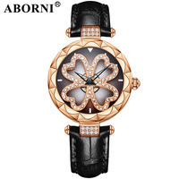 ABORNI Luxury Rhinestone Women Watches Rose Gold Rotation Crystal Female Quartz Watch Waterproof Clock Hollow Lady Wristwatch
