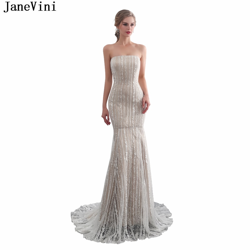 JaneVini Vintage Champagne Lace Long   Bridesmaid     Dresses   Strapless Backless Mermaid Satin Prom Gowns Sweep Train Vestidos Dama