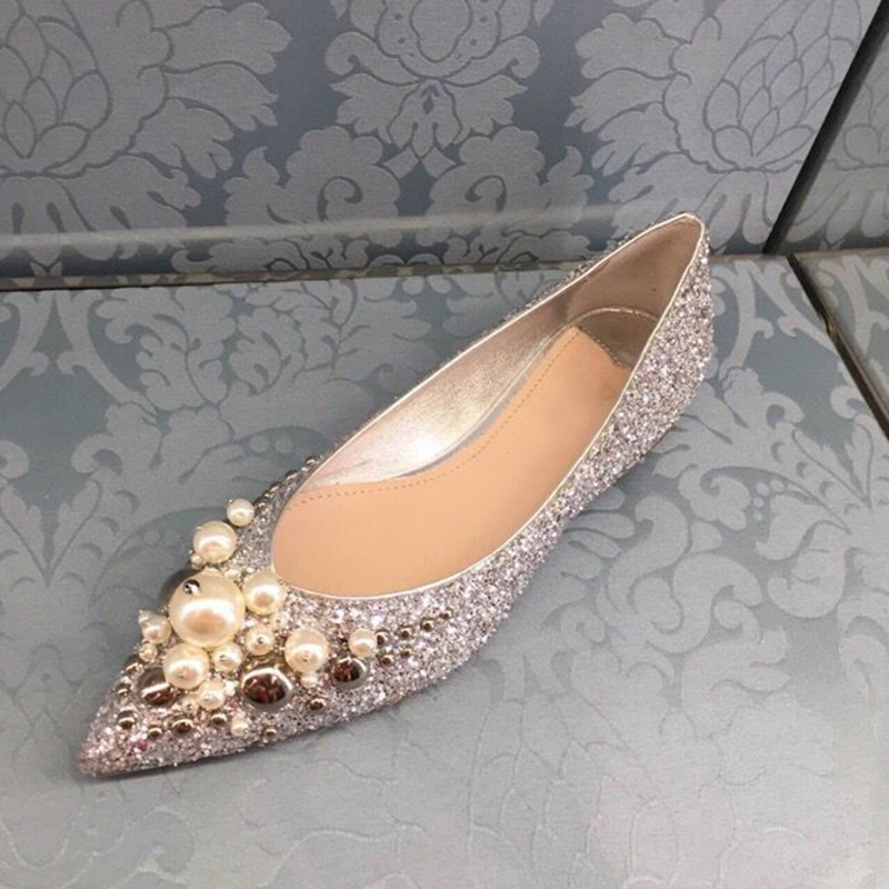 Pointed Toe Zapatos Mujer Women Flats Sequined Cloth Woman Shoes Bling Pearl Decor Wedding Dress Party Chic  Chaussures FemmesPointed Toe Zapatos Mujer Women Flats Sequined Cloth Woman Shoes Bling Pearl Decor Wedding Dress Party Chic  Chaussures Femmes