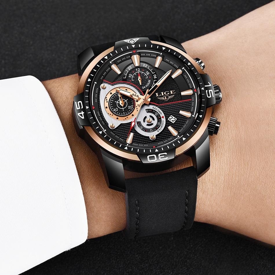 HTB1dZdtXLfsK1RjSszgq6yXzpXaq LIGE Mens Watches Top Brand Luxury Casual Leather Quartz Clock Male Sport Waterproof Watch Gold Watch Men Relogio Masculino