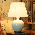 Beautiful chinese hand carved flower design celadon porcelain ceramic table lamps for bedroom