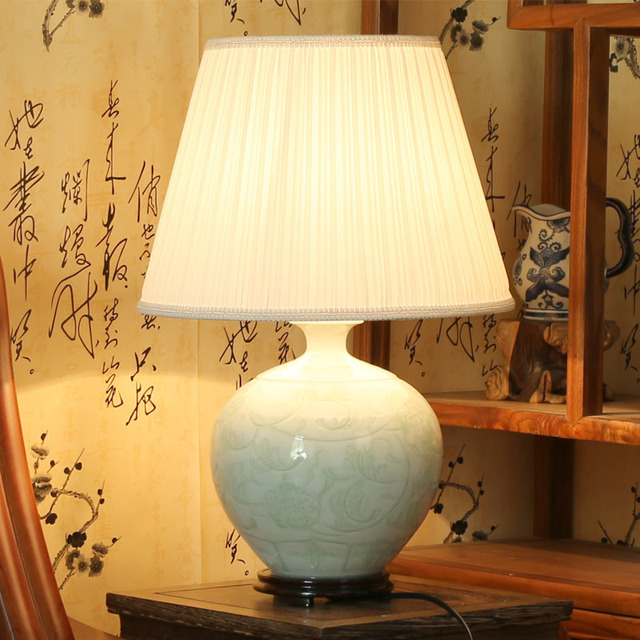Perfect Beautiful Chinese Hand Carved Flower Design Celadon Porcelain Ceramic Table  Lamps For Bedroom
