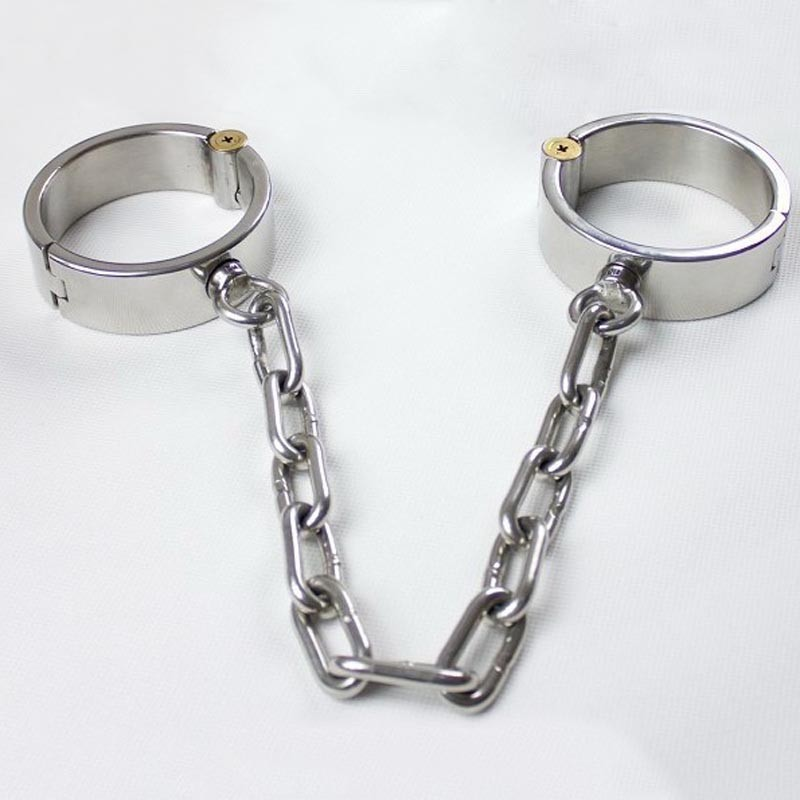 long chain leg irons stainless steel shackles slave ankle cuffs metal bondage harness bdsm fetish sex products for men legcuffs leather metal bondage harness hand ankle cuffs leg irons bdsm slave wirst restraints shackles handcuffs legcuffs sex games toys