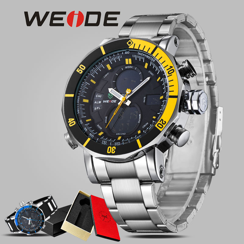 WEIDE  men  stopwatch top brand luxury alarm clock stainless steel sport  led round electronic wrist watches waterproof watches splendid brand new boys girls students time clock electronic digital lcd wrist sport watch