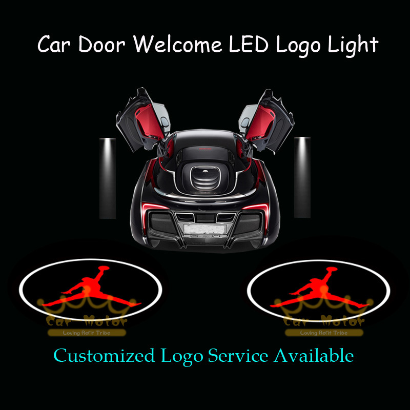 2x Car Door Welcome Courtesy Laser Projector Puddle Spotlight Michael Jordan Dunk Logo Ghost Shadow LED Light (1033) car door step courtesy welcome light projector laser logo light ghost shadow puddle emblem spotlight drop ship for cadillac