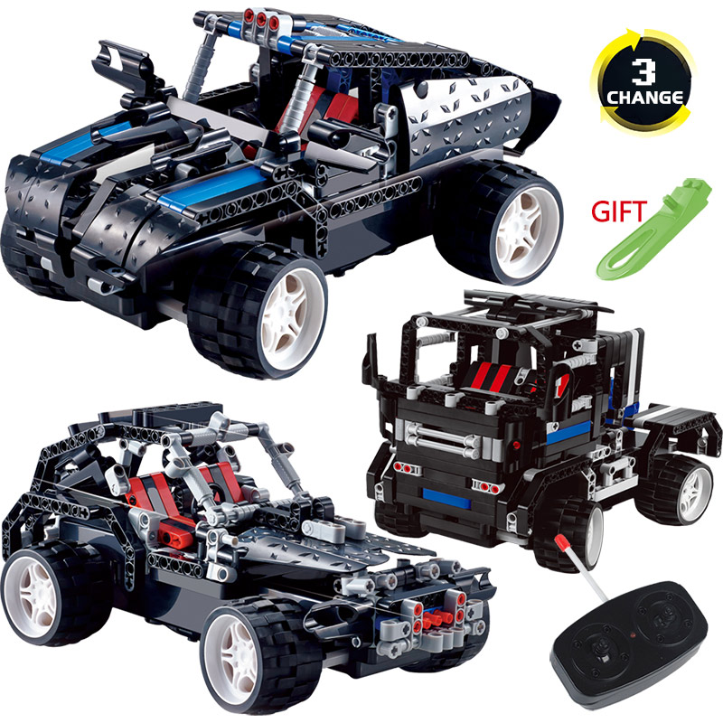 Creator Transformtion LegoINGLYS Technic Vehicle SUV Radio Remote Control Machine Simulation Car Blocks DIY Toys For Children 2 in 1 rc car compatible legoinglys radio technical vehicle green suv control blocks assembled blocks children toys gift
