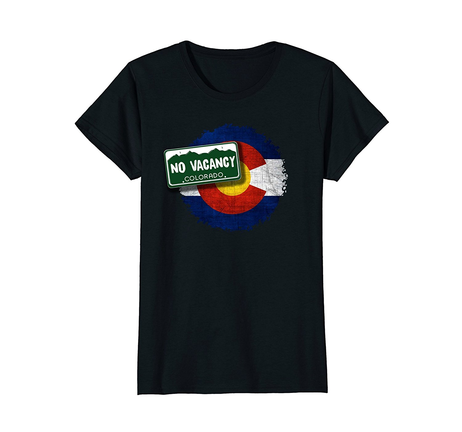 2018 New Summer Slim Tee Shirt No Vacancy License Plate Colorado Flag T-shirt