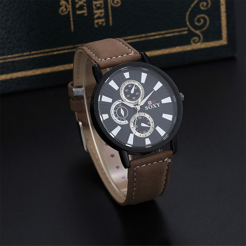 SOXY Brand Wristwatch Men Fashion Sports Watches Leather Band Analog Quartz Watch Male Clock Hour montre homme relogio masculino mens stainless steel band watch with big round dial male analog quartz metal sports wristwatch relogio masculino montre homme
