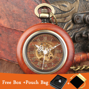 Image 1 - Vintage Watch Red Wood Design Round Mechanical Pocket Watch Automatic Timepiece Luxury Pendant Clock Self Winding Watches Gifts