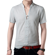 Summer mens short sleeve new V-neck linen shirt Chinese style youth casual trend wild stand collar fashion