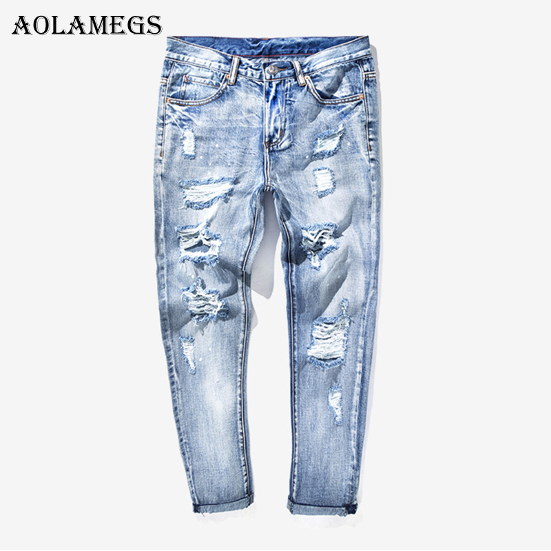 Aolamegs Biker Cargo Ripped Jeans For Men Holes Pants Mens Selvage Skinny Jeans Baggy Brand Denim Cotton Trousers 2017 Fashion