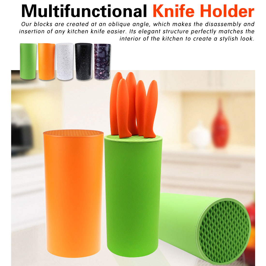Tool Holder Multifunctional Plastic Tool Holder Knife Block Knife Stand Sooktops Tube Shelf Chromophous