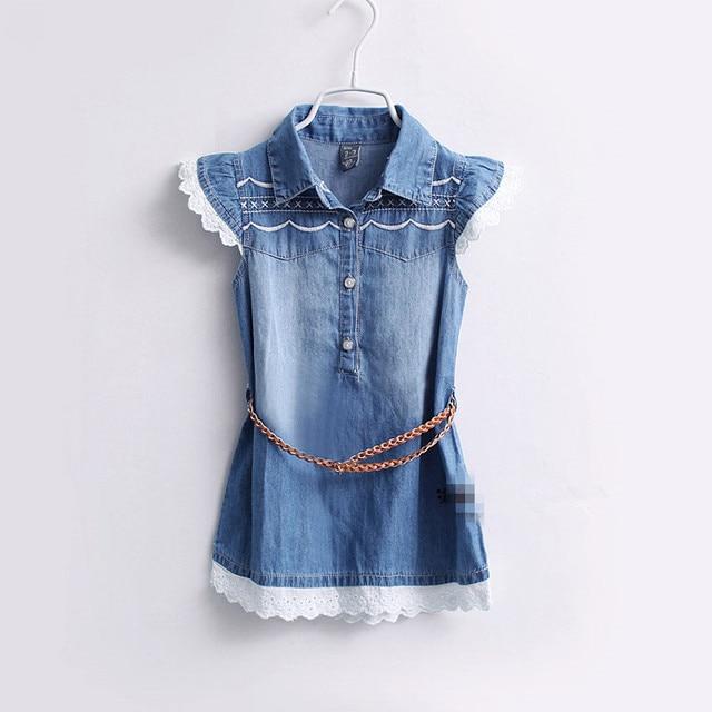 Baby Girls Summer Denim Dresses Girls Fashion Embroidery Denim Dress With Belt  Kids Summer Dresses
