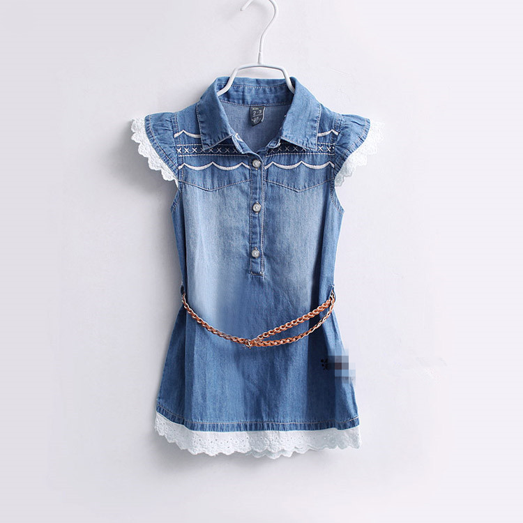 Baby Girls Summer Denim Dresses Fashion Embroidery Dress With Belt  Kids