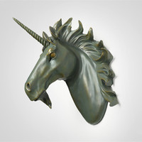 Large Unicorn Wall decoration Hanging Wall Animal Head Resin Pendant Resin Wall Ornaments Home Accessories, Best Gift