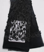 High Quality Black Color Tulle French Lace Fabric With Stones 3D Flower African Lace Fabric For