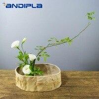 Chinese Style Zen Flower Arrangement Creative Stump Ceramic Flower Pot Succulent Plant Bonsai Desktop Flowerpot Vintage Ornament