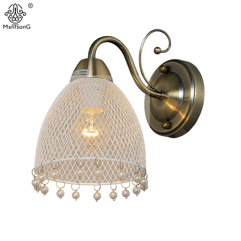 Hollow Pearl Pendants Wall Light Classic Vintage Pearl Tassels Sconce Wall Bedside Lighting Bedroom Home Fixture Decor Wall Lamp ...