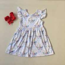 Puresun Fashion Design Girl Summer Dress Flutter Sleeve Unicorn Print Dress Girls High Quality Boutique Party Dress Match Bow flower print flutter sleeve wrap dress