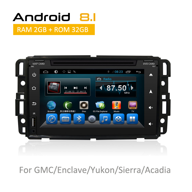 Автомобильная стереосистема Bluetooth fm передатчик для GMC Yukon Acadia Sierra Chevrolet Tahoe с системой android 8,1 Поддержка камеры заднего вида