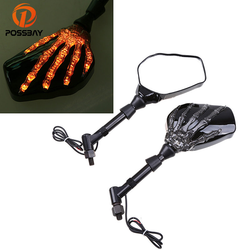 POSSBAY Motorcycle Mirror with Turn Signal for Universal Motorbike Side Rearview Mirrors Amber Skull LED Indicator