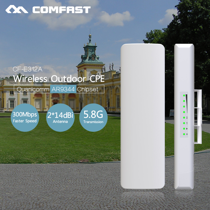 2Pc COMFAST CF-E312A 5.8Ghz CPE Wireless AP 300Mbps outdoor high power wireless wifi access point 14dBi wifi antenna Nanostation comfast 300mbps 5 8g wireless outdoor wifi long range cpe 2 14dbi antenna wi fi repeater router access point bridge ap cf e312a