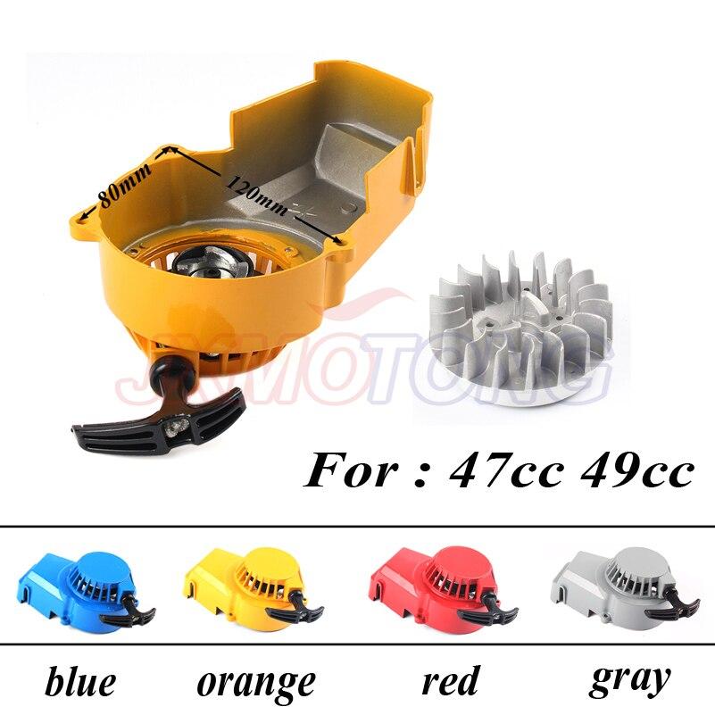 High Performance Mini Moto Quad Pull Start starter & Aluminum flywheel For two stroke 33cc 43cc 47cc 49cc POCKET BIKE 50cc ATV