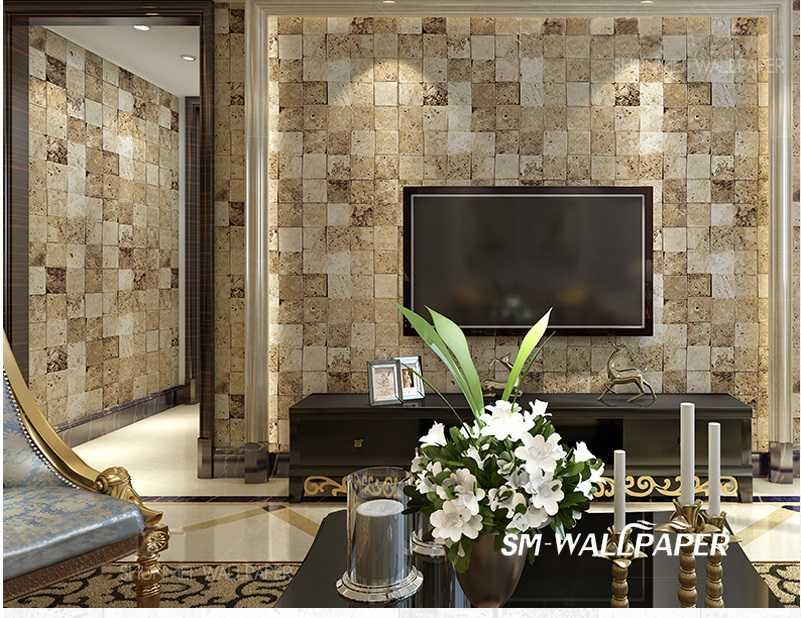 10m Modern Vintage Embossed Mosaic 3D Brick Stone Wallpaper Waterproof Wall Stickers For Interior Home Hotel Decor мозаика elada mosaic cb512 327x327x4мм шоколадная 10 шт