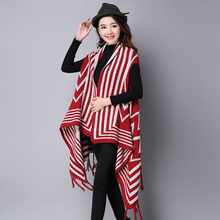 De Dove 2016 winter new large size women's national wind sleeveless striped knitted sweater shawl femme fringed vest sweaters
