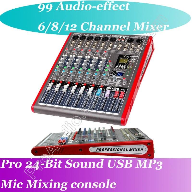 Professional 6 Channel 99 Audio effect USB Studio Microphone DJ Mixer Mixing Console Processor 24-Bit