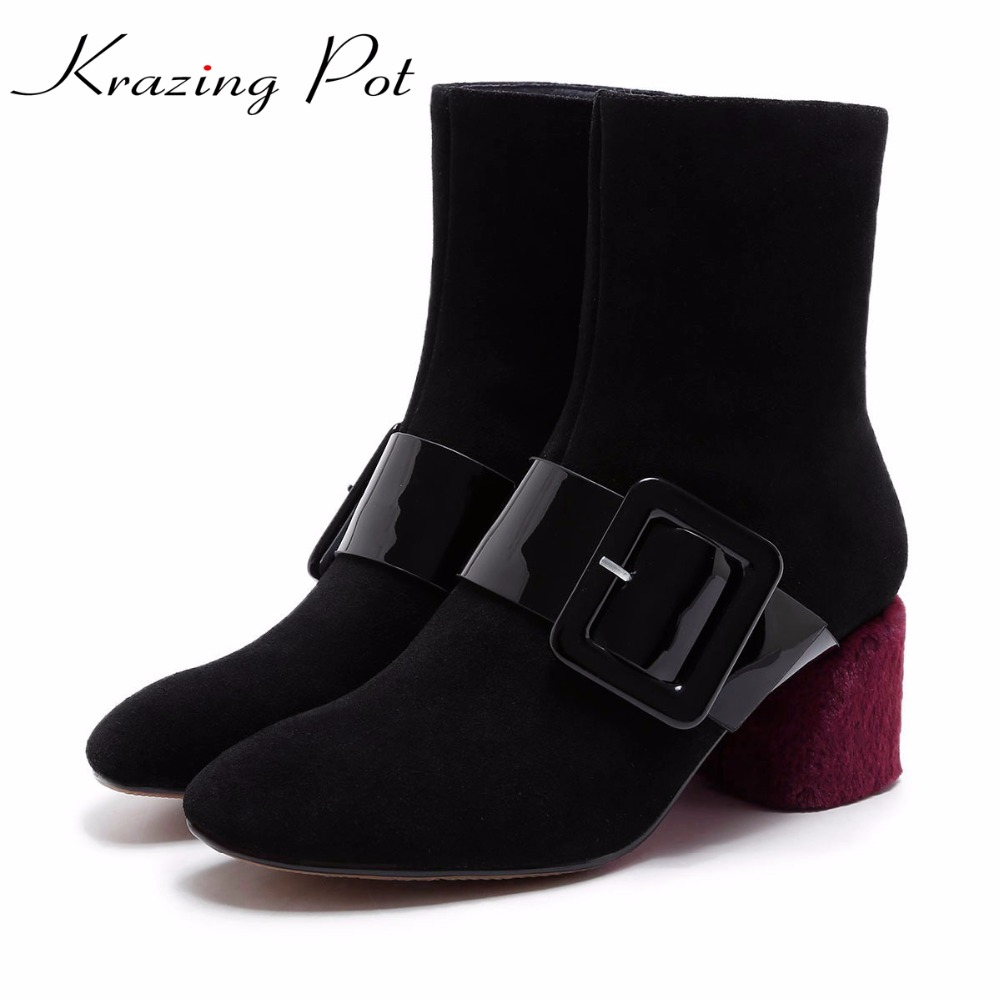 Krazing Pot 2018 genuine leather metal buckle mixed colors thick high heels European round toe women fashion mid-calf boots L99 double buckle cross straps mid calf boots