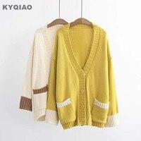 KYQIAO Weihnachten pullover Frauen strickjacke weiblichen herbst winter Japanischen stil langarm v-ausschnitt gelb beige strickwaren top
