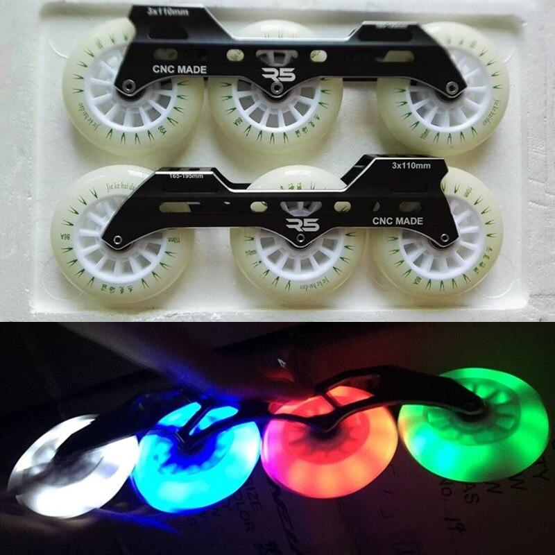 110 мм светодиодный флэш-колесо с 3X110 мм Inline Скорость коньках кадр зеленый синий красный, белый свет PU колеса + алюминиевый сплав с ЧПУ Base