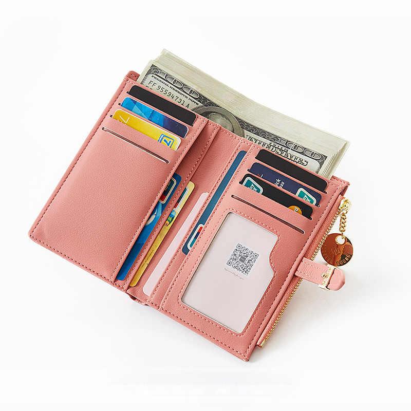 Luksusowy skórzany krótki damski portfel wiele dział panie mała portmonetka pieniądze moneta etui na karty torebka Slim damskie portfele Cartera