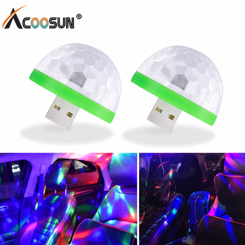 Acoosun Car USB LED Atmosphere Light Decorative Lamp Emergency Lighting Universal PC Portable Plug and Play For Lada Kia Honda