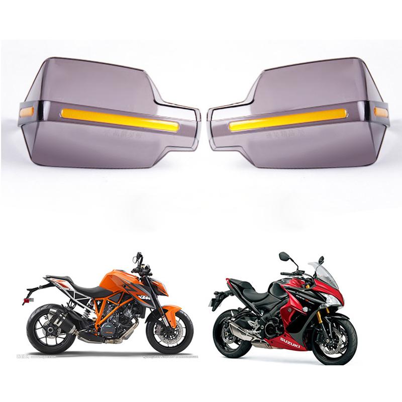 Prix pour Moto Universel Vent Déflecteurs PC Noir Translucide Poignée Bar Protection Poignées Garde Moto Motocross En Plastique 22mm