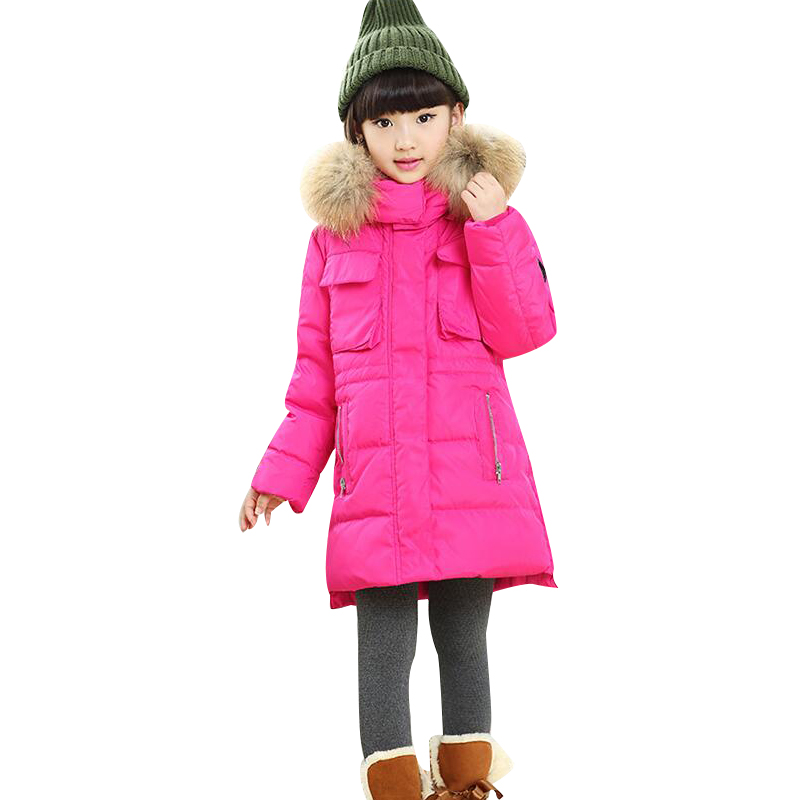 2016 new children down jacket Girls long section of female children's clothing big boy winter thick down jacket collar Nagymaros