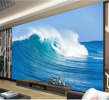Niestandardowe fotorealistyczna tapeta 3d mural do salonu piękny niebieski spray fale 3d malowanie TV tło włóknina tapeta na ścianę 3d tanie i dobre opinie Yuan rolka Odporne na wilgoć Odporna na dym Pochłanianie dźwięku Dźwiękoszczelne Antystatyczna Odporne na pleśń
