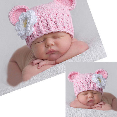 Newborn Baby Girls Cute Toddlers Daisy Flower Crochet Beanie Knitted Baby  Cap Hat c3ea84cb26ec