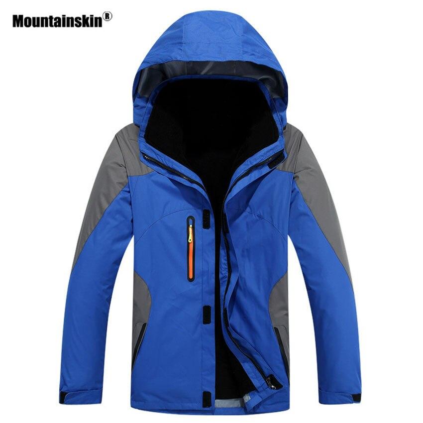 Mountainskin Men 3 In 1 Winter 2 Pieces Fleece Warm Jacket Outdoor Sports Windbreaker Hiking Camping Skiing Brand Coats VA286