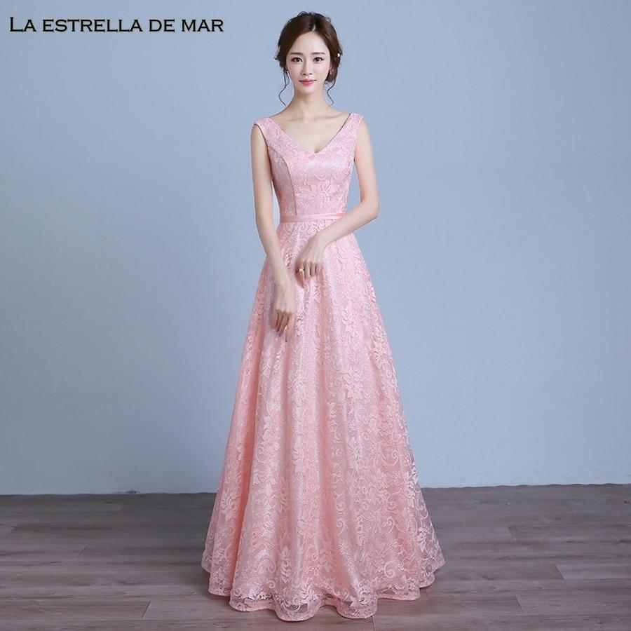 Robe demoiselle d honneur2019 new sexy V neck lace A Line simple pink bridesmaid  dresses 92d5e06cec92