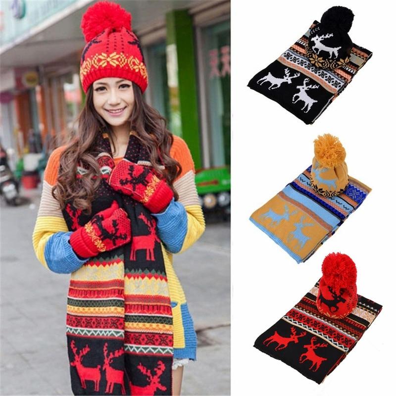 Women Girl Crochet Hat Fur Woolen Knit Beanie Raccoon Warm Caps+Scarf Shawl Set Xmas Gift