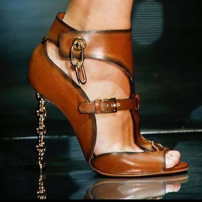 Women New Fashion Buckle Strap Metal Chain High Fretwork Heels Sexy Peep Toe Gladiator Sandals Ladies Summer Sandals Rome Style new fashion women open toe metal chain strap cross gladiator sandals buckle design super high heel sandals dress shoes