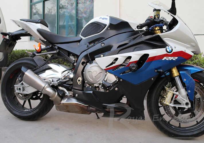 60 مللي متر مدخل دراجة نارية لسيارات BMW S1000RR ألياف الكربون خمار ماسورة العادم الانزلاق على العادم مع DB Killer 2015 2016 2017 العام