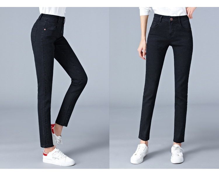 Jeans for woman high waist plus size full Length skinny pencil black blue Denim pants 100kg 6